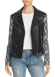Veda Jayne Mixed-Print Leather Moto Jacket - 100% Exclusive
