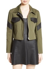 Veda Linder Leather Trim Military Jacket