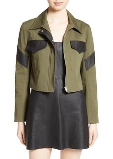 Veda Linder Leather Trim Military Jacket