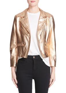 VEDA Splash Metallic Leather Moto Jacket