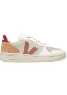 VEJA Net Sustain V-10 Mesh, Suede And Leather Sneakers