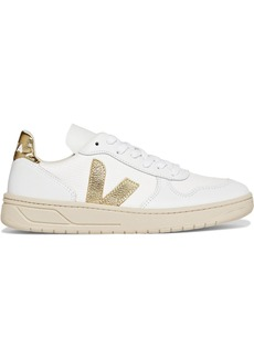 VEJA Net Sustain V-10 Metallic-trimmed Leather And Mesh Sneakers