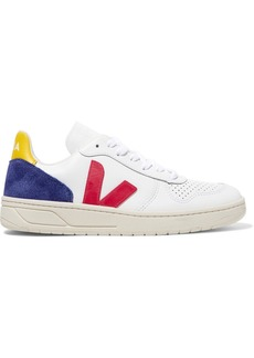 VEJA Net Sustain V-10 Suede And Rubber-trimmed Leather Sneakers
