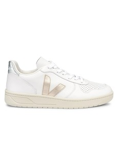 VEJA V-10 Leather Metallic Logo Patch Low-Top Sneakers