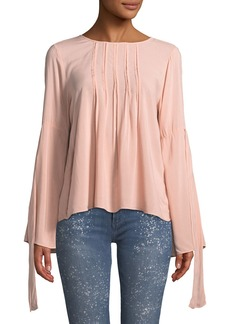 Velvet by Graham & Spencer Abitha Pintuck Challis Long-Sleeve Top