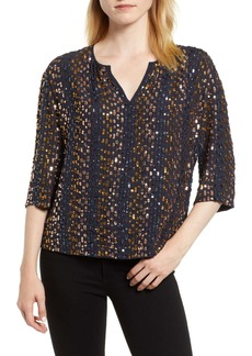 Velvet by Graham & Spencer Allover Stripe Sequin Top
