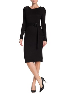Velvet by Graham & Spencer Belted Long Sleeve Midi Dress
