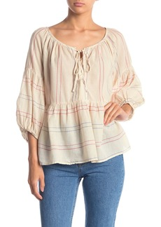 Velvet by Graham & Spencer Calico Stripe Boho Blouse