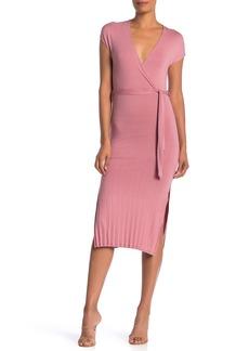 Velvet by Graham & Spencer Cap Sleeve Faux Wrap Midi Dress