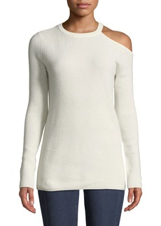 Velvet by Graham & Spencer Cashmere Cold-Shoulder Long-Sleeve Top