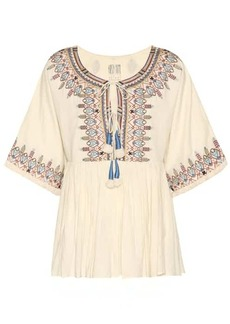 Velvet by Graham & Spencer Dahlia embroidered cotton top