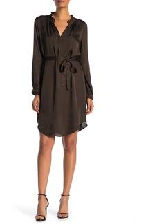 Velvet by Graham & Spencer Donna Satin Long Sleeve Tie Waist Dress
