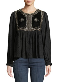 Velvet by Graham & Spencer Embroidered Hook-Front Long-Sleeve Top