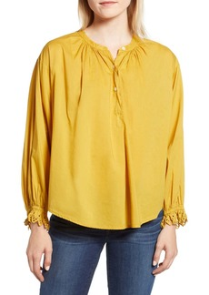 Velvet by Graham & Spencer Eyelet Cuff Cotton Poplin Blouse