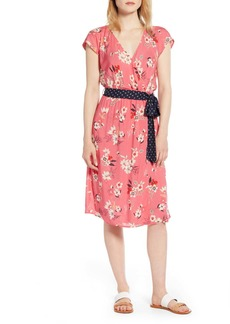 Velvet by Graham & Spencer Floral Print Contrast Belt Dress