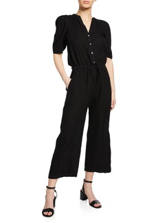 Velvet by Graham & Spencer Izabelle Short-Sleeve Linen Jumpsuit