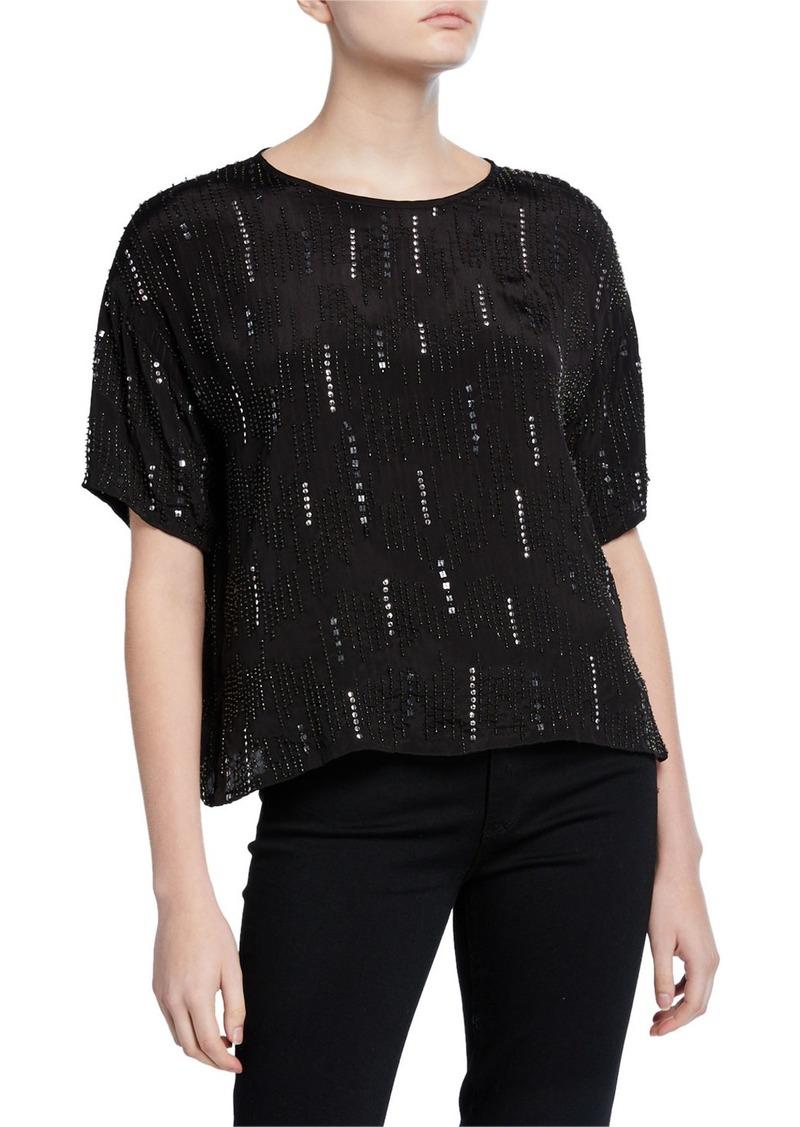 Velvet by Graham & Spencer Jonelle Embellished Short-Sleeve Blouse