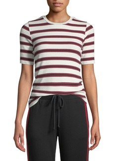 Velvet by Graham & Spencer Kay Striped Rib-Knit Tee