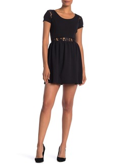 Velvet by Graham & Spencer Lace Trim Crew Neck Dress