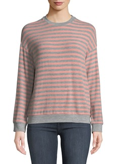 Velvet by Graham & Spencer Landry Striped Long-Sleeve Crewneck Top