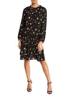 Velvet by Graham & Spencer Leslie Floral-Print Smocked Short Dress