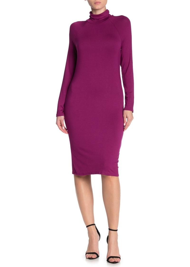 Velvet by Graham & Spencer Long Sleeve Turtleneck Midi Dress