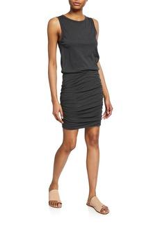 Velvet by Graham & Spencer Macey Crewneck Sleeveless Shirred Mini Dress