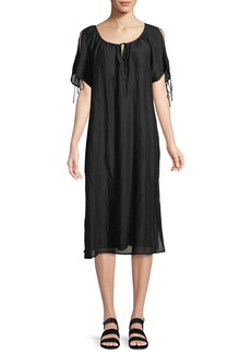Velvet by Graham & Spencer Magson Cotton-Silk Tie-Sleeve Midi Dress