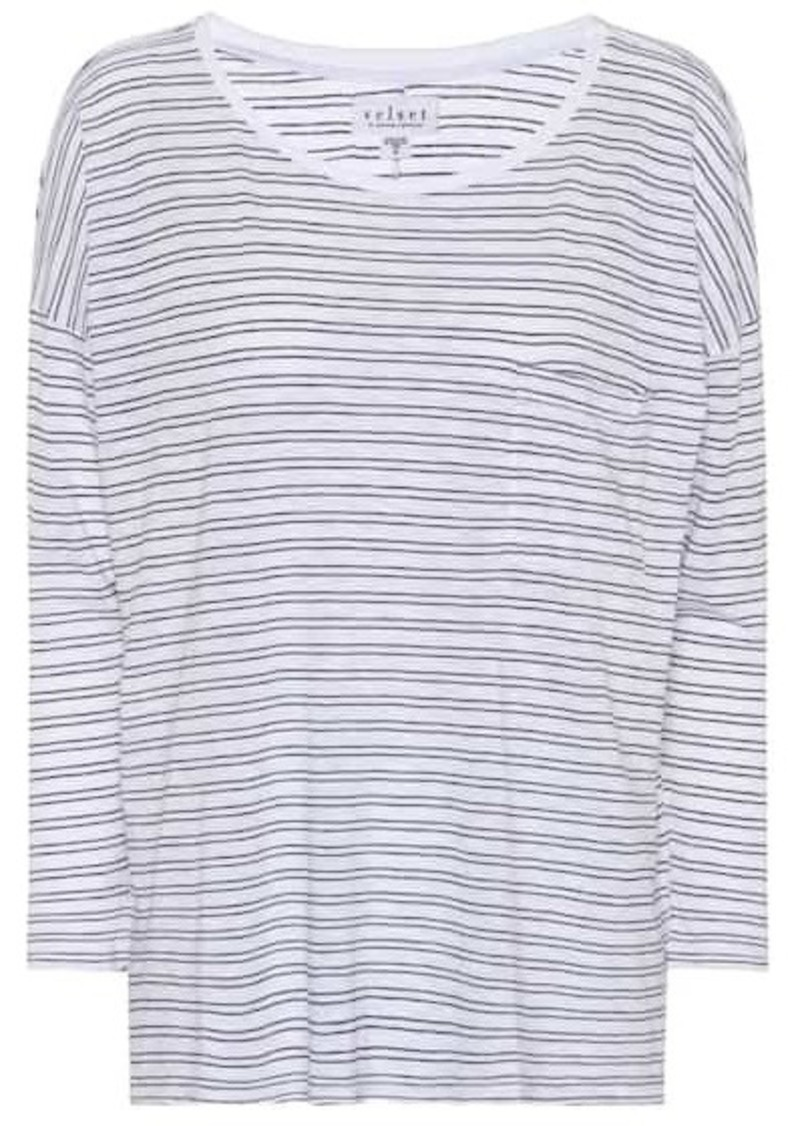Velvet by Graham & Spencer Manuka striped cotton-blend top