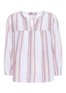 Velvet by Graham & Spencer Miranda striped linen-blend blouse