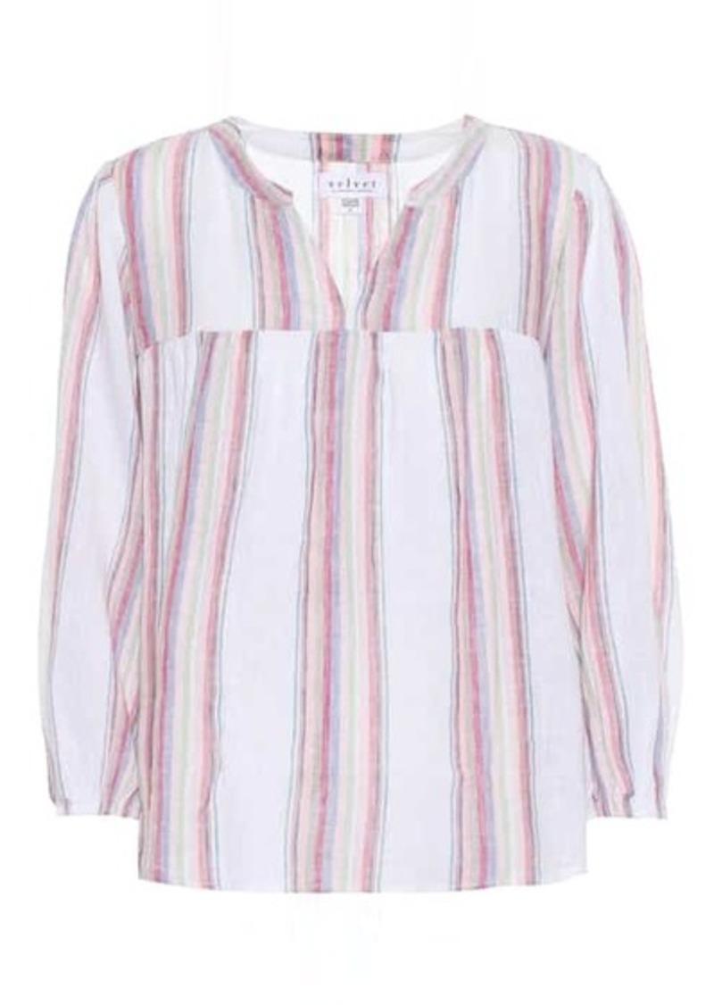 Velvet by Graham & Spencer Miranda striped linen-blend blouse