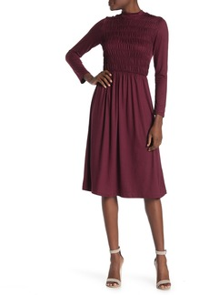 Velvet by Graham & Spencer Mock Neck Long Sleeve Smocked Midi Dress