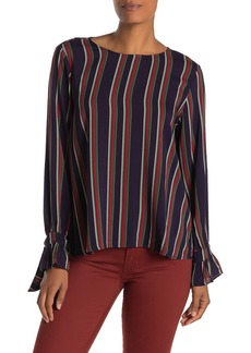 Velvet by Graham & Spencer Oakley Striped Long Tie Sleeve Blouse
