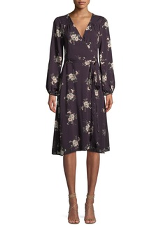Velvet by Graham & Spencer Pomona Floral-Print Long-Sleeve Wrap Dress