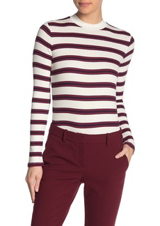 Velvet by Graham & Spencer Queen Stripe Ribbed Knit Long Sleeve Top