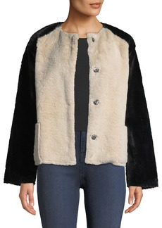 Velvet by Graham & Spencer Ray Colorblock Structured Faux-Fur Jacket