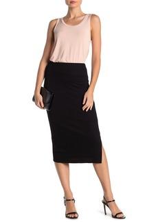 Velvet by Graham & Spencer Ribbed Knit Side Slit Midi Skirt