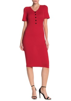 Velvet by Graham & Spencer Ribbed Short Sleeve Henley Midi Dress