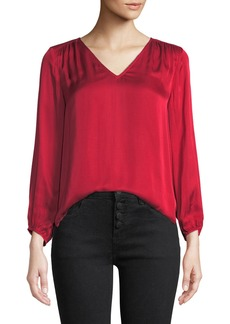 Velvet by Graham & Spencer Rohana V-Neck Viscose Long-Sleeve Top