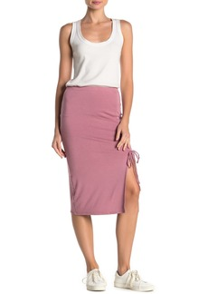 Velvet by Graham & Spencer Ruched Side Slit Midi Skirt