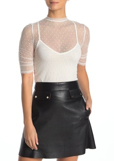 Velvet by Graham & Spencer Ruched Sleeve Mesh Top