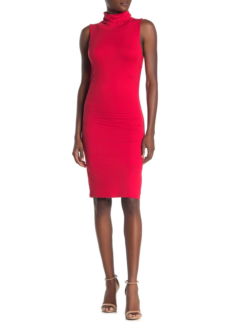 Velvet by Graham & Spencer Ruched Sleeveless Turtleneck Dress