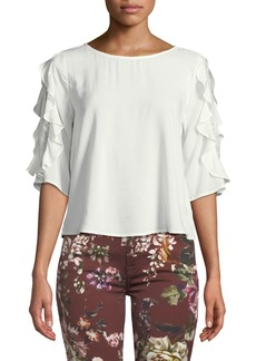 Velvet by Graham & Spencer Ruffle-Sleeve Lace Challis 3/4-Sleeve Top
