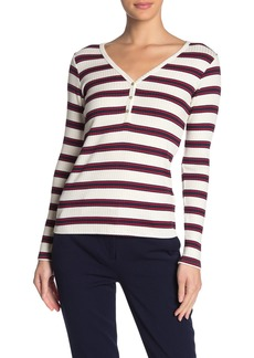 Velvet by Graham & Spencer Sabel Stripe Ribbed Knit V-Neck Top