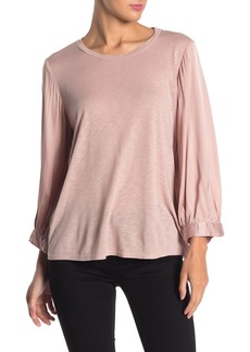 Velvet by Graham & Spencer Satin Sleeve Knit Top