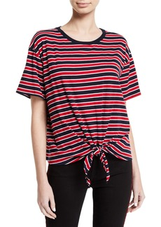 Velvet by Graham & Spencer Scarla Striped Tie-Front Short-Sleeve Tee