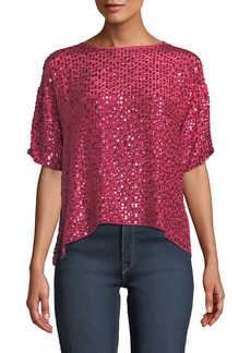 Velvet by Graham & Spencer Sequined Short-Sleeve Cropped Shirt