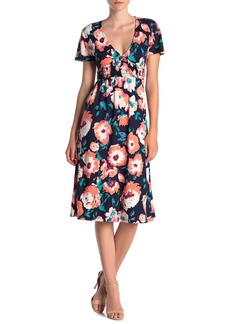 Velvet by Graham & Spencer Short Sleeve Floral Print Dress