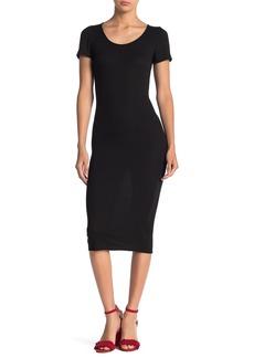 Velvet by Graham & Spencer Short Sleeve Ribbed Knit Midi Dress