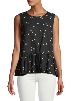 Velvet by Graham & Spencer Simora Draped Daisy-Print Tank Top